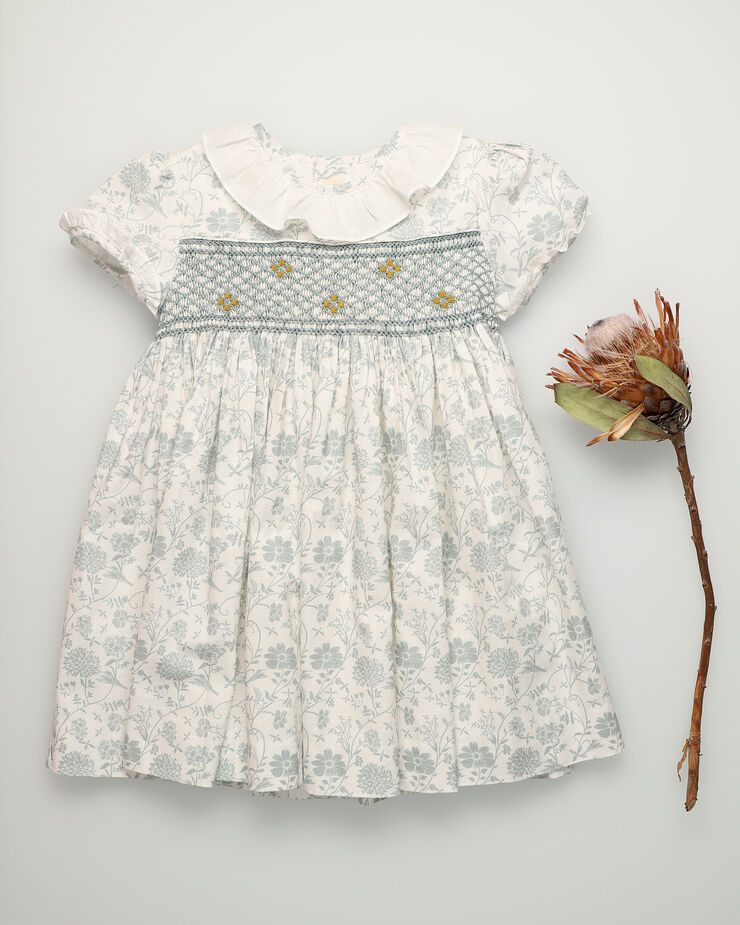 Hand-smocked baby dress with green flowers and collar frill