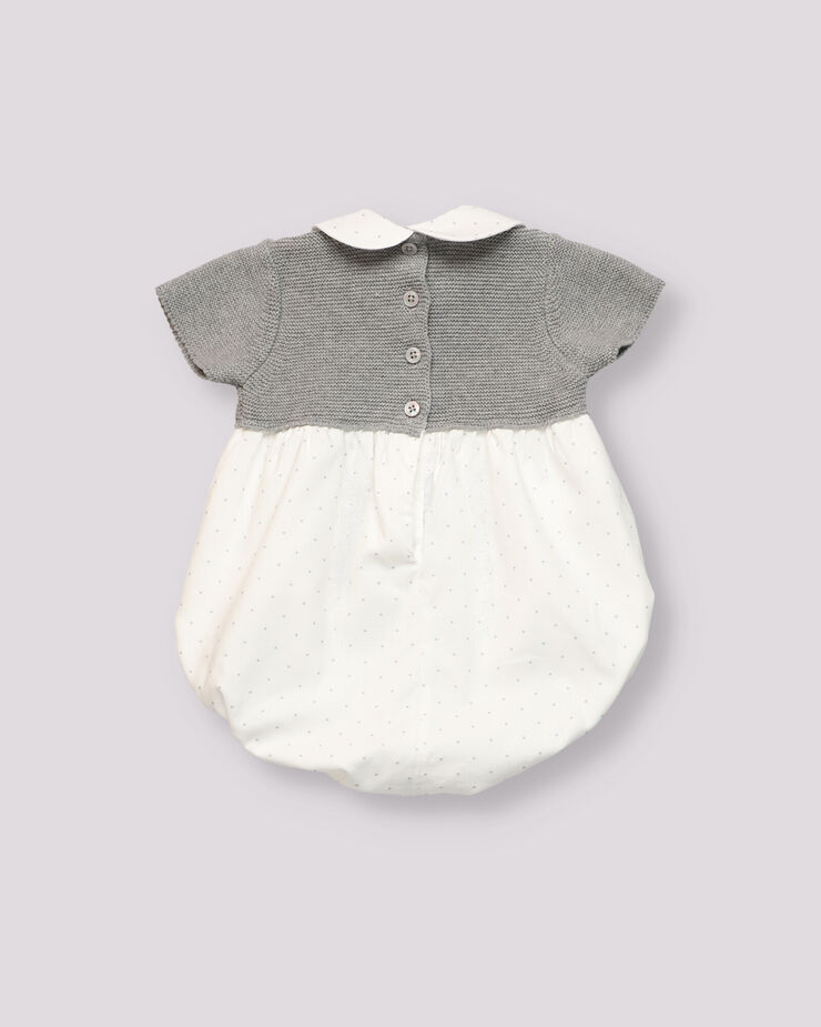 Grey knitted combined baby romper