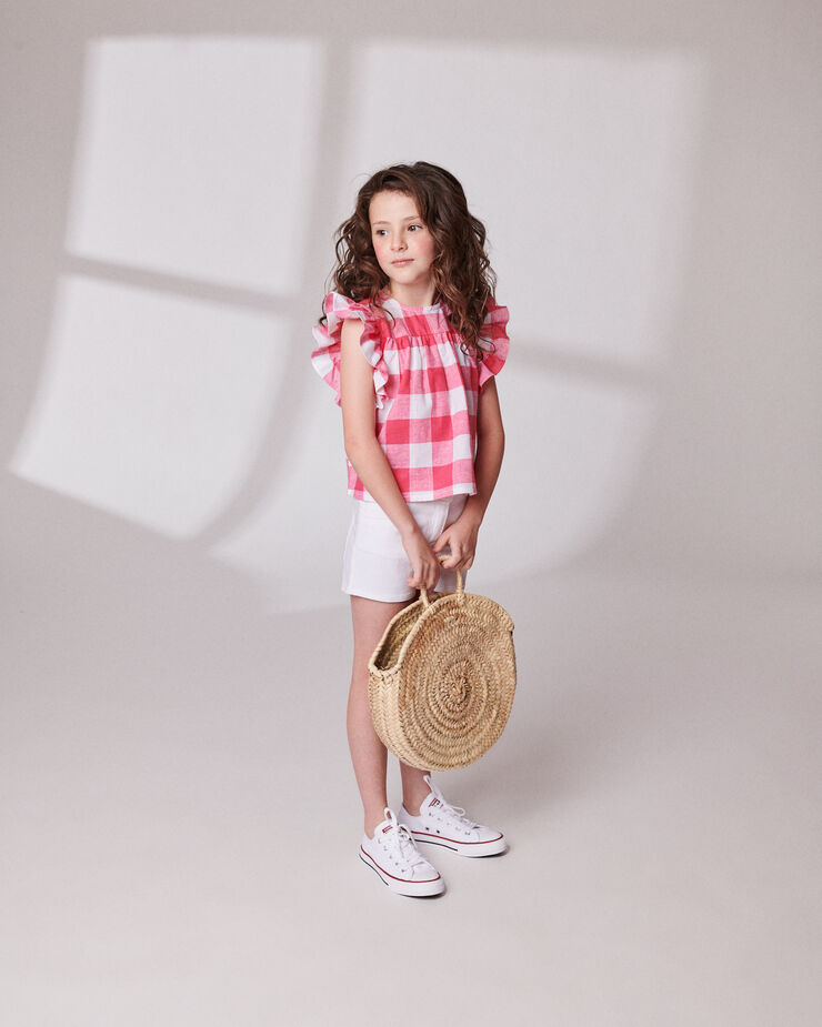 linen strawberry and white checked girl blouse