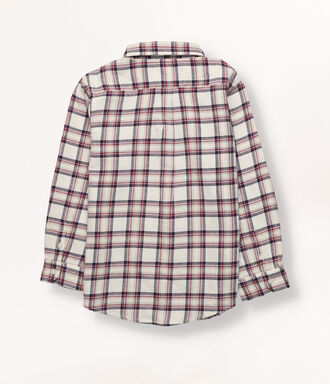 Boy shirt with checks in off white, navy and cherry colors.  Button collar