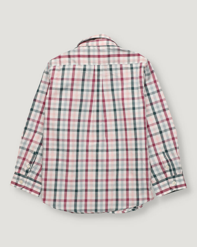 Green and burgandy checked boy shirt with button collar