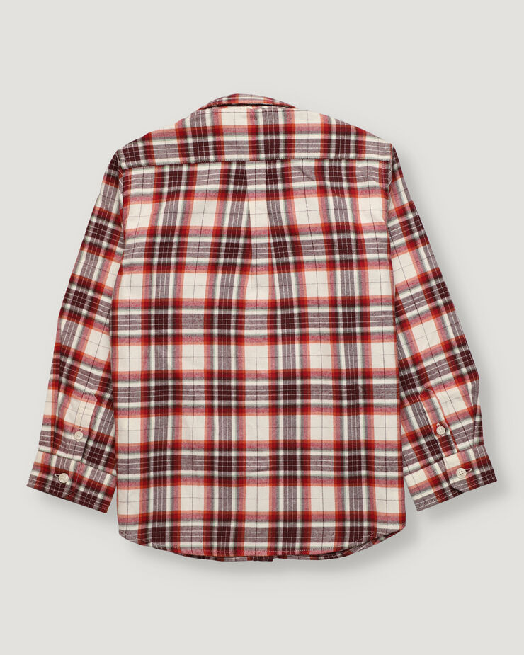 Russet checked boy shirt with button collar