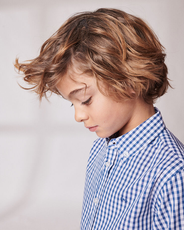 navy blue vichy checked boy shirt