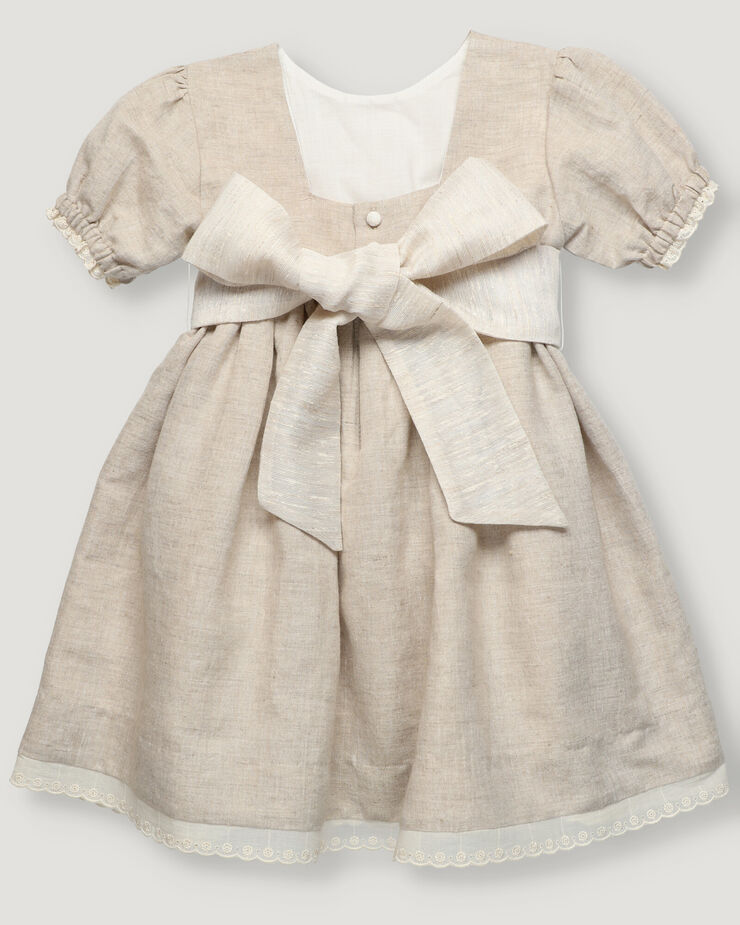 Girl dress in sand colour with belt in contrast color and cotton lace tape in bottom and cuff.
