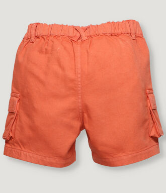 Sport shorts for boy in tencel fabric, in dark orange color with cargo pockets