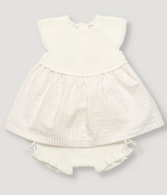 Off white knitted top with sand stripes seersucker skirt new born baby girl dress with knitted bloomer in off white color.