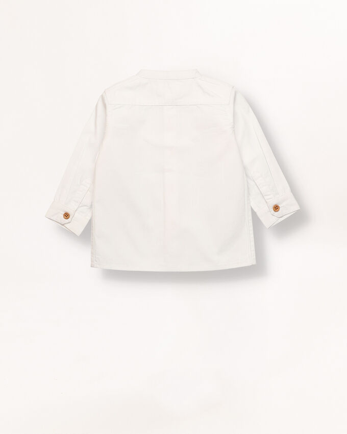 White baby boy shirt with pleats detail.