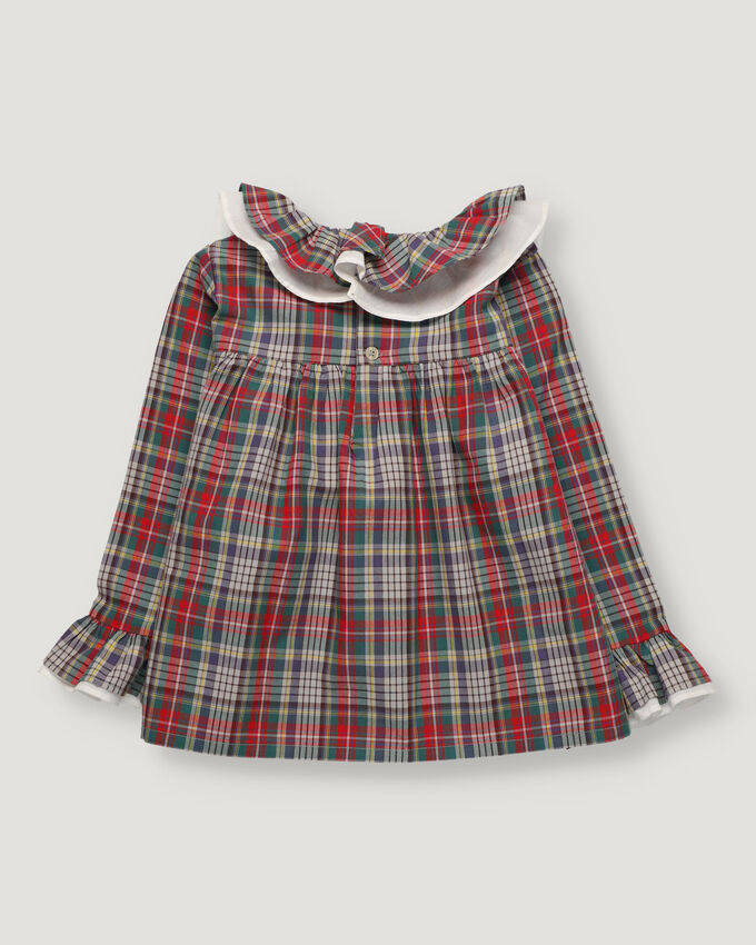 Checked girl blouse with double ruffle in collar and sleeves