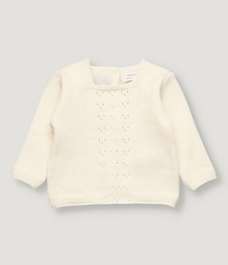 Off white baby pullover with open work