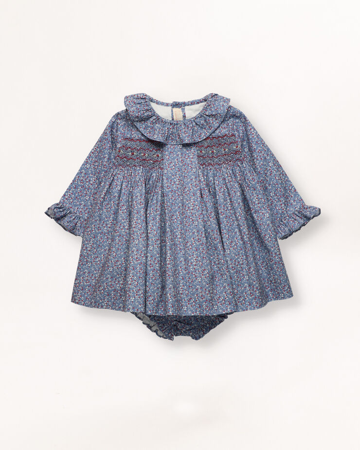 Ditsy dress with smocking