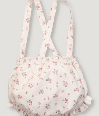 Pink flower baby girl  bloomer with straps