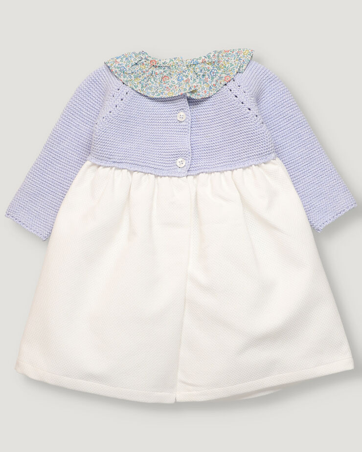 Baby girl dress with top in light blue tricot and white skirt