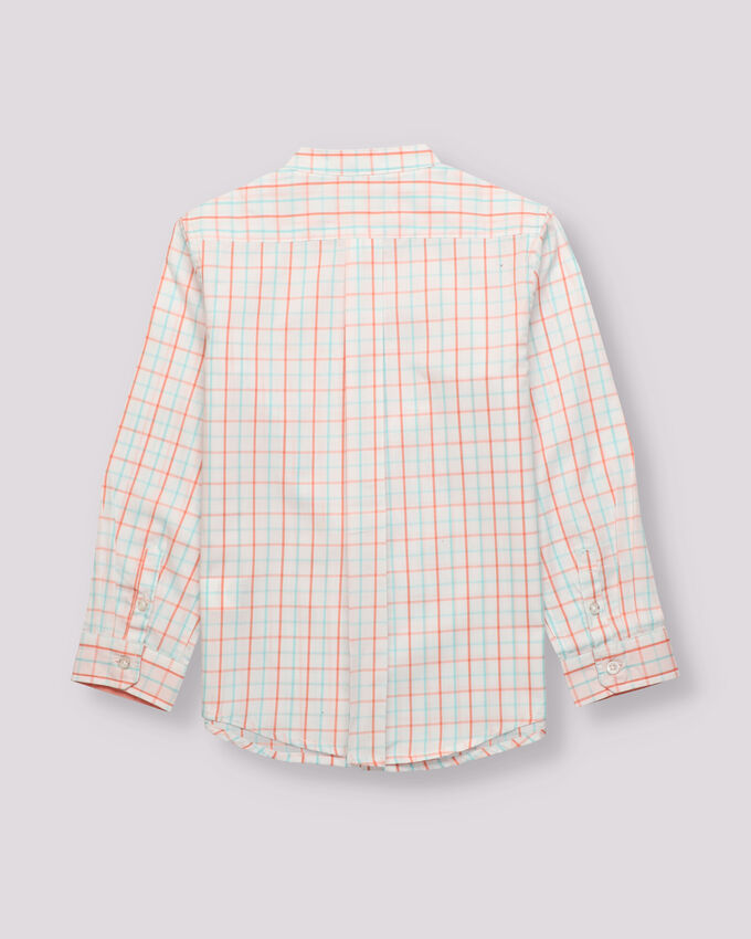 coral and green window frame boy shirt