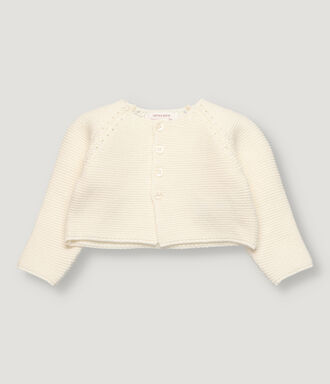 Off white baby knitted bolero with wranglan sleeve