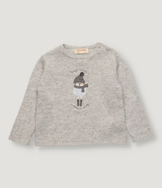 Light grey baby pullover with front motif