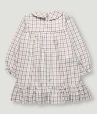 Off white and grey checked dress with bottom frill