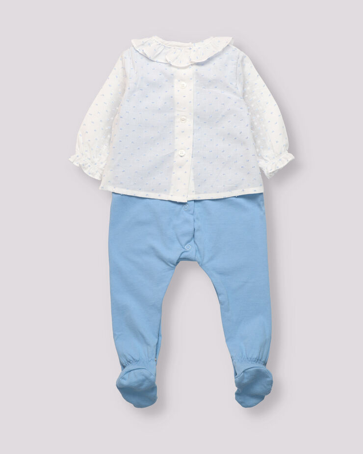 Blue cambric and cotton baby boy outfit