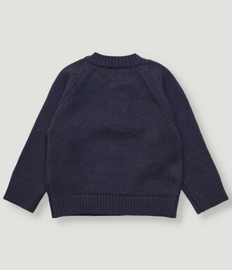 Navy baby boy pullover with wood buttons