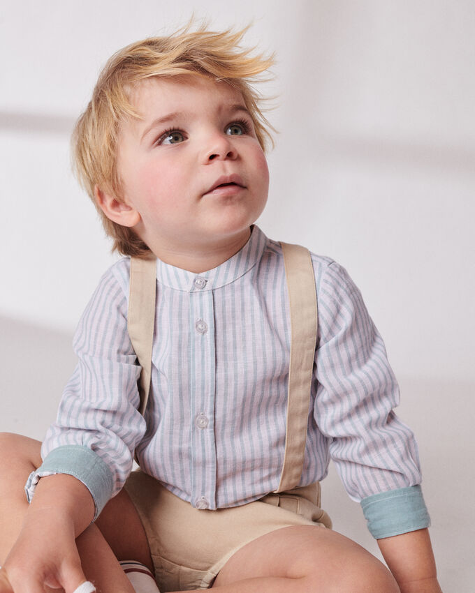 linen blue and white striped boy shirt