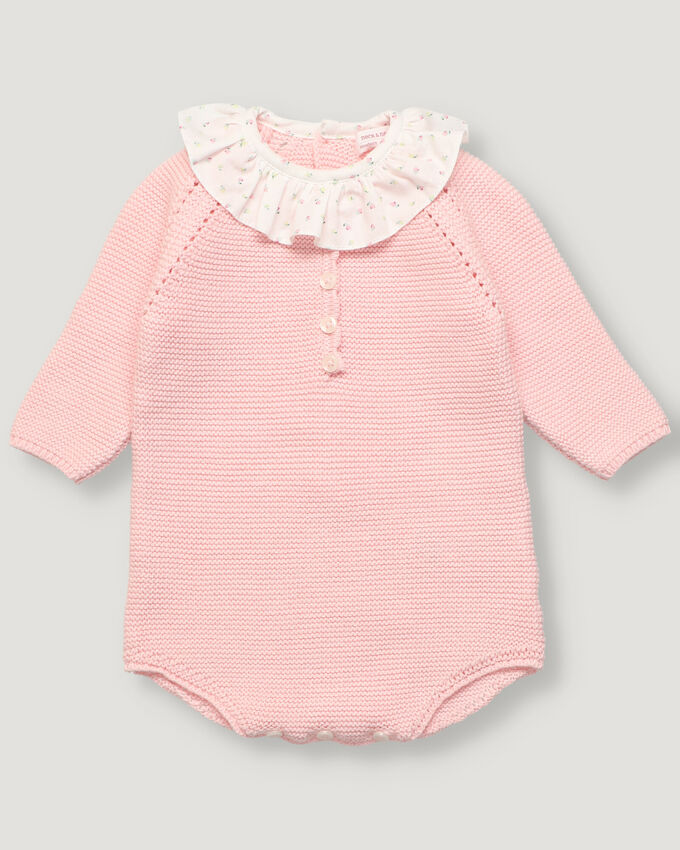 Light pink baby knitted romper with ruffle collar