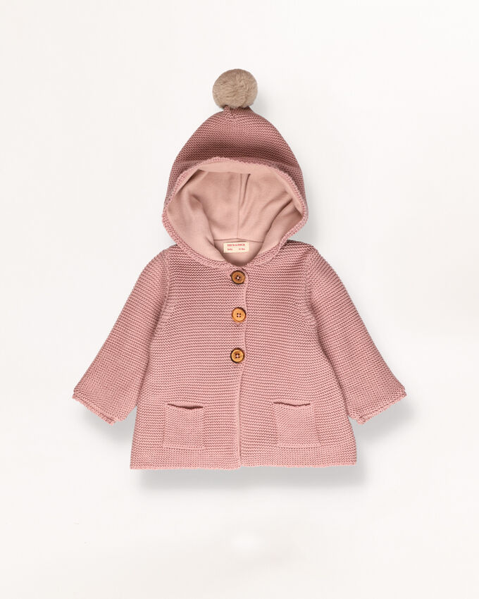 Pink knitted coat with detail