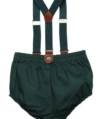 Green Bermuda shorts with braces