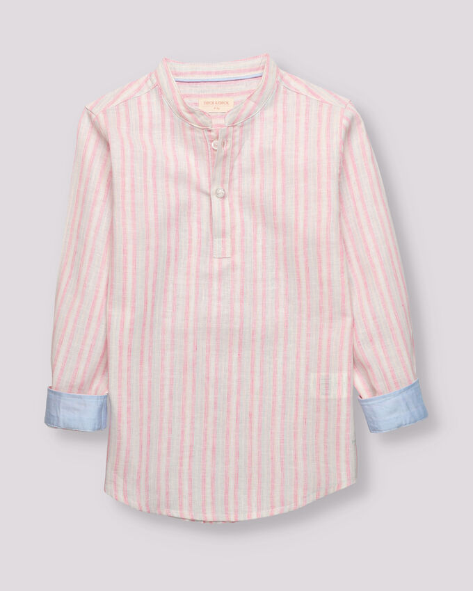 linen pink and blue striped boy shirt