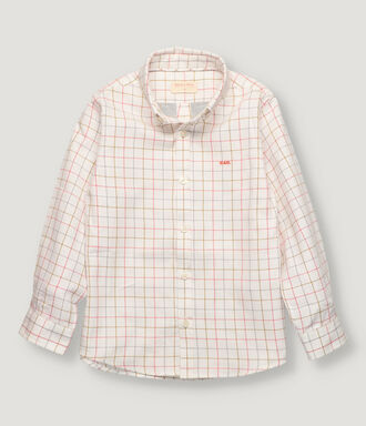 Mustard, grey and salmon checked boy shirt with button collar