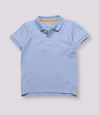 white rugby polo boy shirt with a blue strip