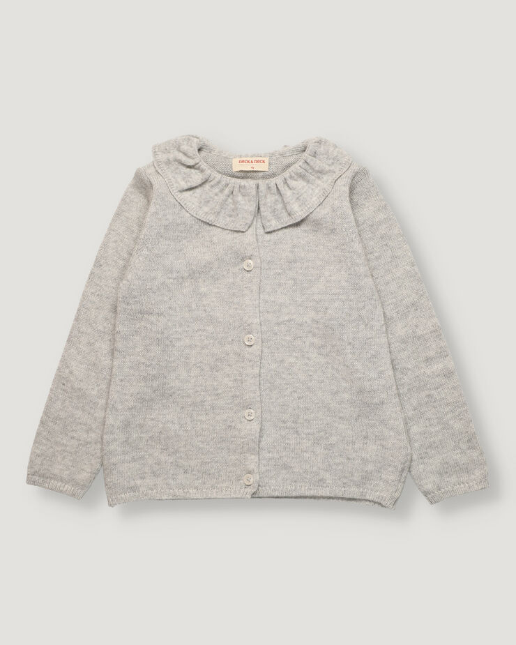 Light grey knitted girl cardigan with ruffle on collar