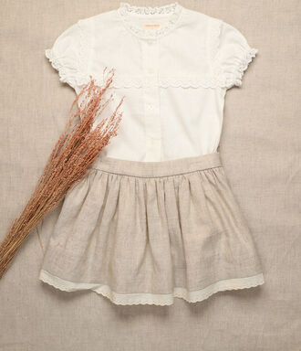 Off white girl shirt with cotton lace tape details.