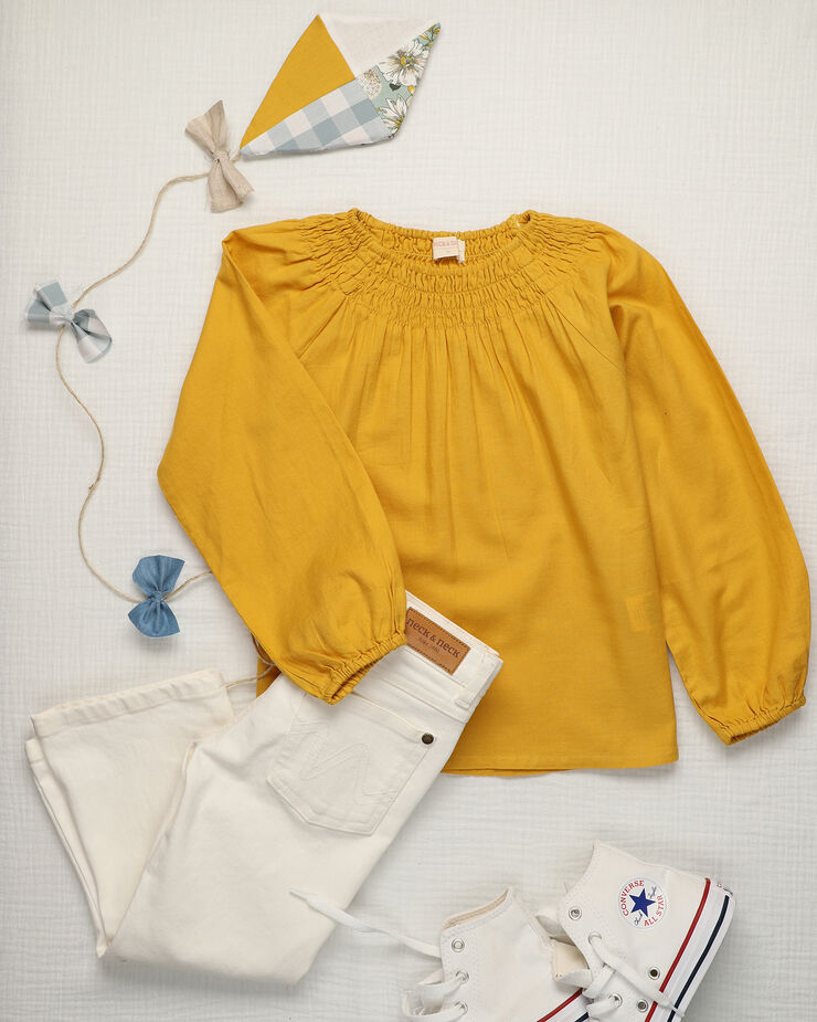 Mustard girl blouse with rounded smock in chest and back