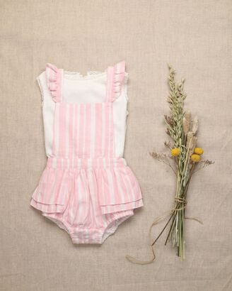 Baby romper with pink stripes and lurex thread