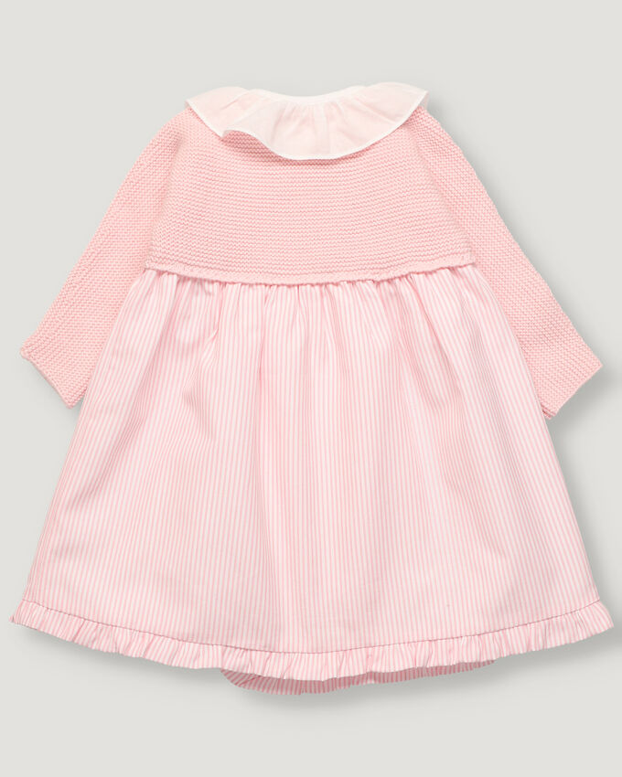 Baby girl dress with pink tricot top and stripped skirt