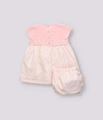 Pink knitted combined patterned baby girl dress