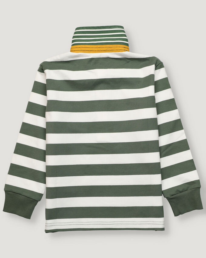 Boy rugby polo with green and grey stripes