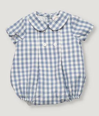 Blue vichy checked baby romper with short sleeve