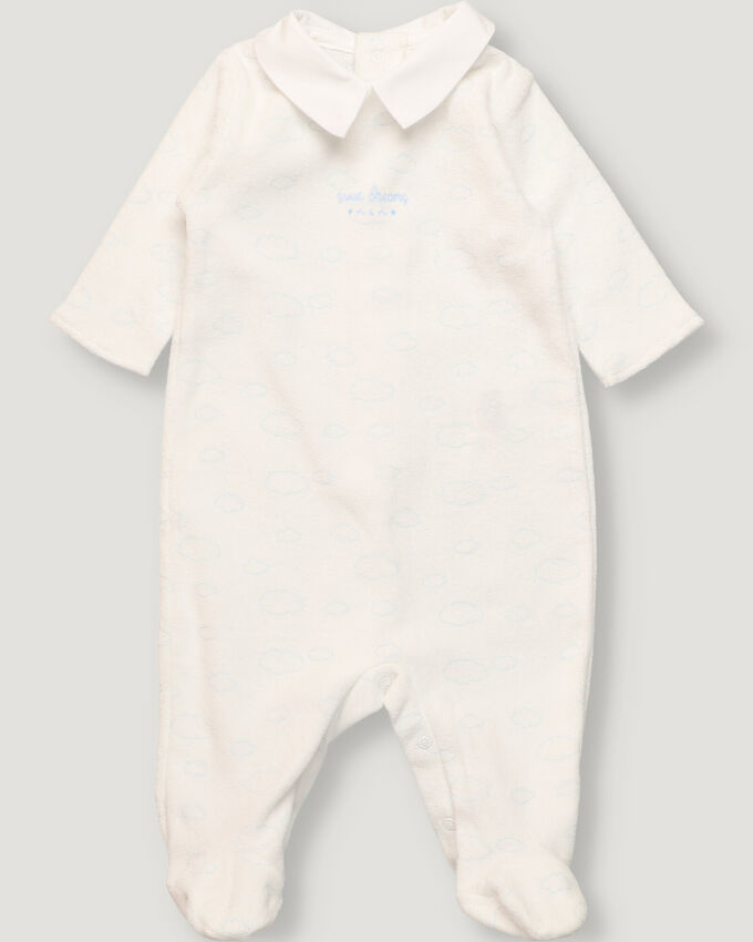 White baby velour pyjama with clouds