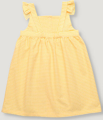 Yellow vichy tank girl dress with frills details and front button placket.