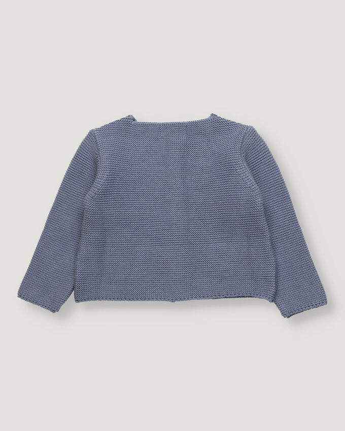 Blue baby knitted cardigan with pockets