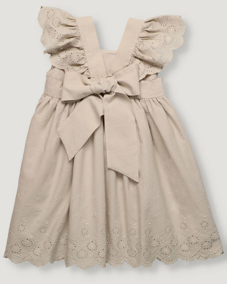Girl dress in sand colour with Swiss embroidery details on strap frills and bottom hem.