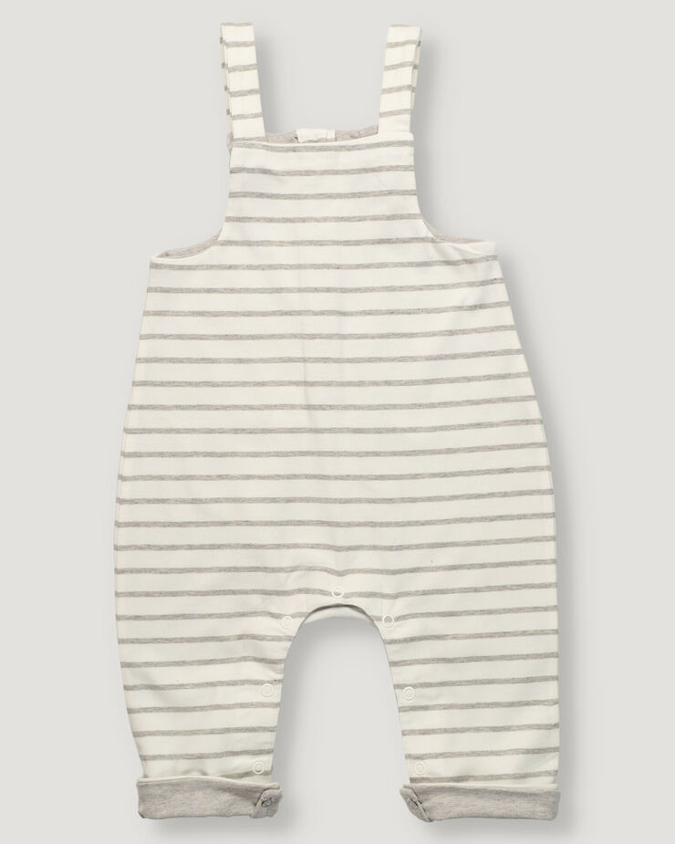 Baby bib overall with offwhite and grey stripes