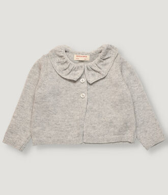 Light grey knitted baby girl cardigan with ruffle on collar