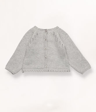 Grey knit jumper with pompom detail