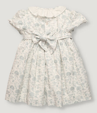 Hand-smocked dress with green flowers and collar frill