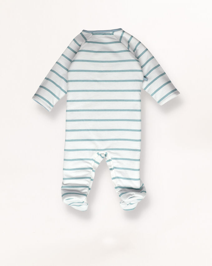 Dusty blue, stripy baby pyjamas