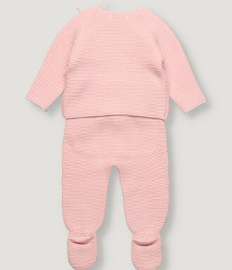 Light pink baby knitted set with front opening
