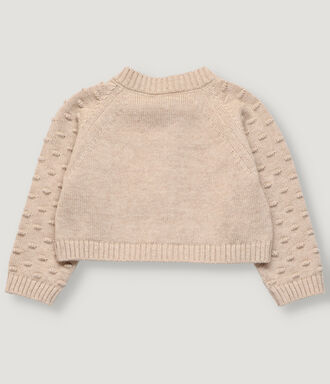 Knitted jacket for newborn sand color