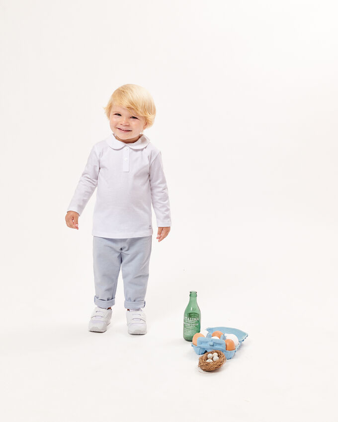 White baby polo shirt with zipper cover