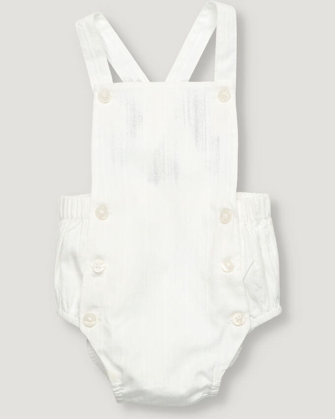 New born overall in white dobby